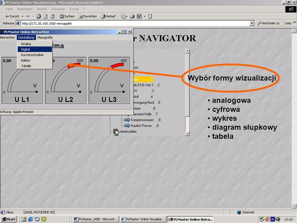45 Visualisierung Online Wybór formy wizualizacji analogowa cyfrowa wykres diagram słupkowy tabela