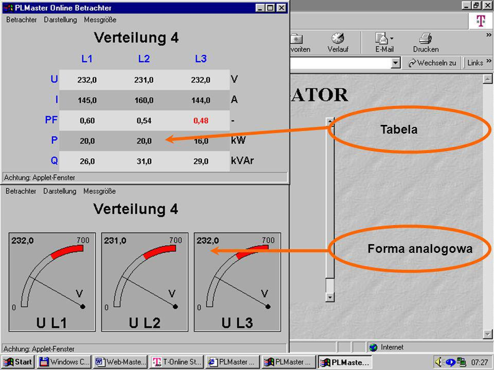 46 Visualisierung Online Tabela Forma analogowa