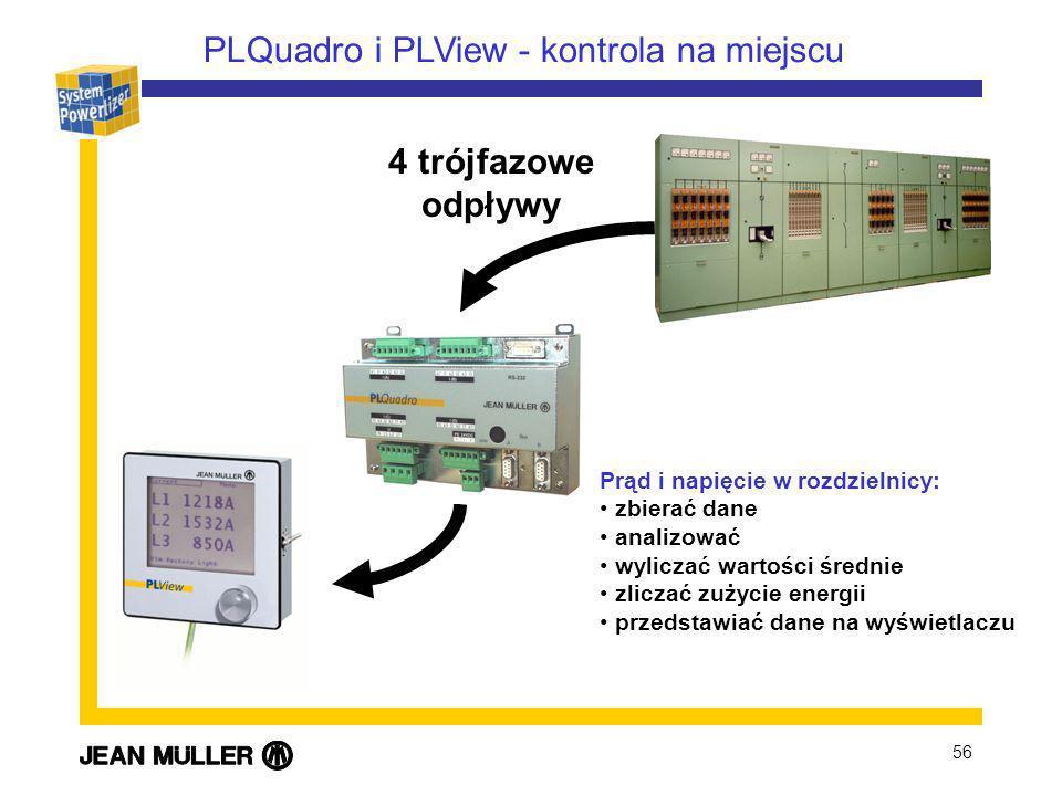 56 Prąd i napięcie w rozdzielnicy: zbierać dane analizować wyliczać wartości średnie zliczać zużycie energii przedstawiać dane na wyświetlaczu PLQuadro i PLView - kontrola na miejscu 4 trójfazowe odpływy