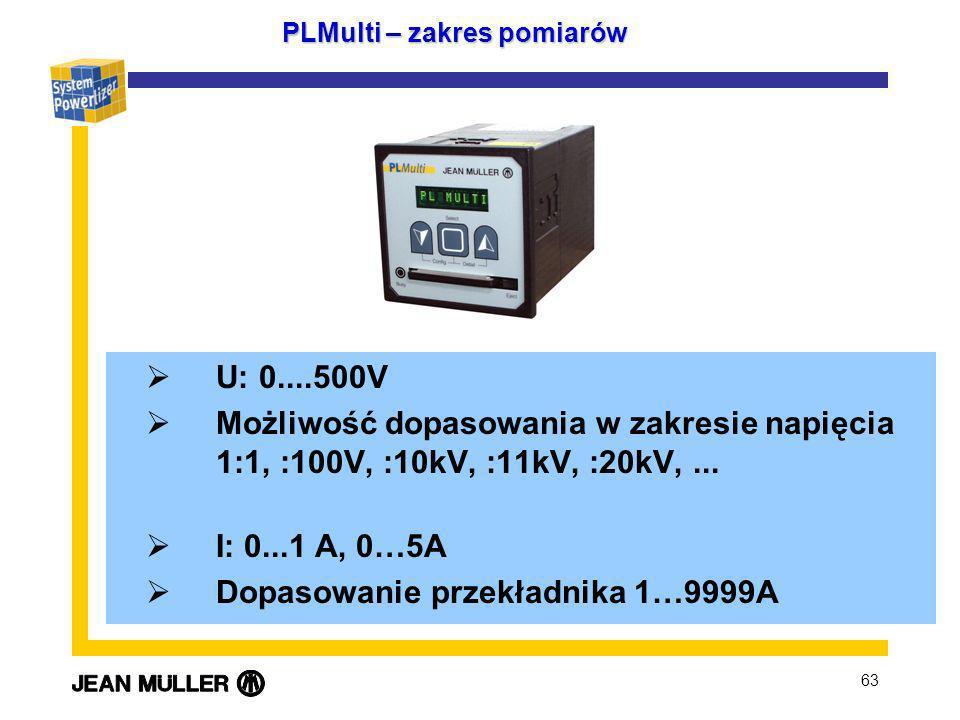63 PLMulti – zakres pomiarów U: 0....500V Możliwość dopasowania w zakresie napięcia 1:1, :100V, :10kV, :11kV, :20kV,... I: 0...1 A, 0…5A Dopasowanie p