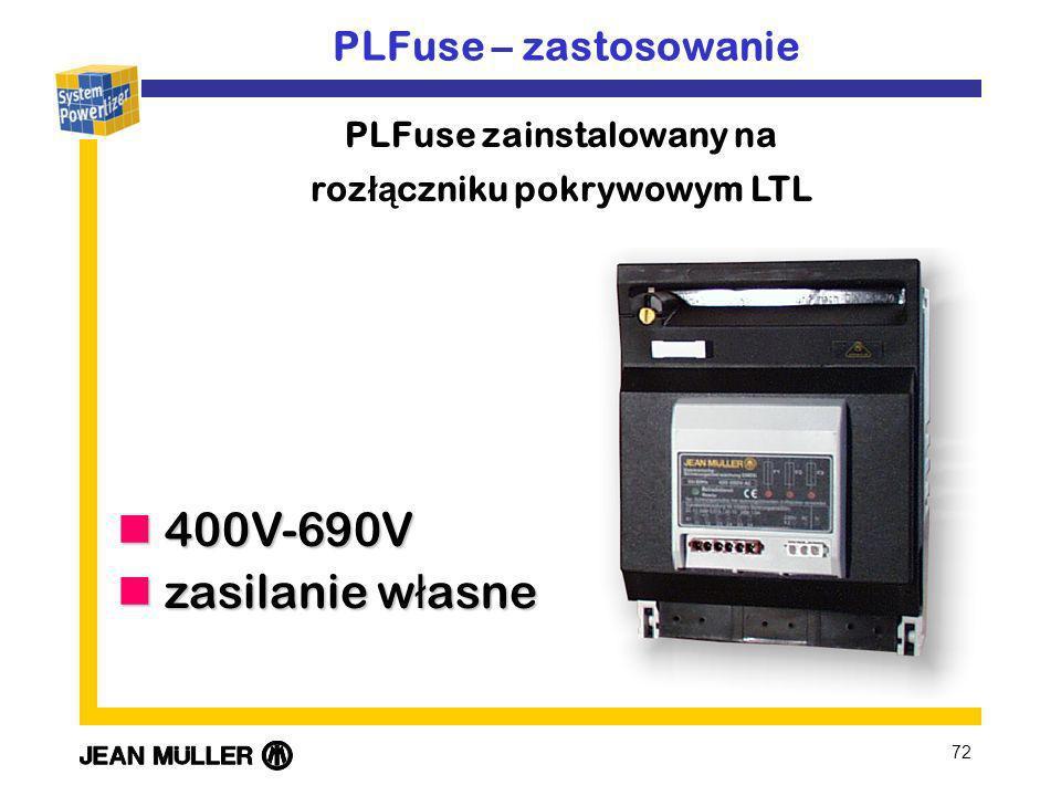 72 400V-690V 400V-690V zasilanie w ł asne zasilanie w ł asne PLFuse – zastosowanie PLFuse zainstalowany na roz łą czniku pokrywowym LTL