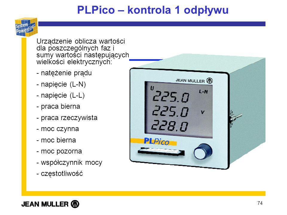 74 PLPico – kontrola 1 odpływu Urządzenie oblicza wartości dla poszczególnych faz i sumy wartości następujących wielkości elektrycznych: - natężenie prądu - napięcie (L-N) - napięcie (L-L) - praca bierna - praca rzeczywista - moc czynna - moc bierna - moc pozorna - współczynnik mocy - częstotliwość