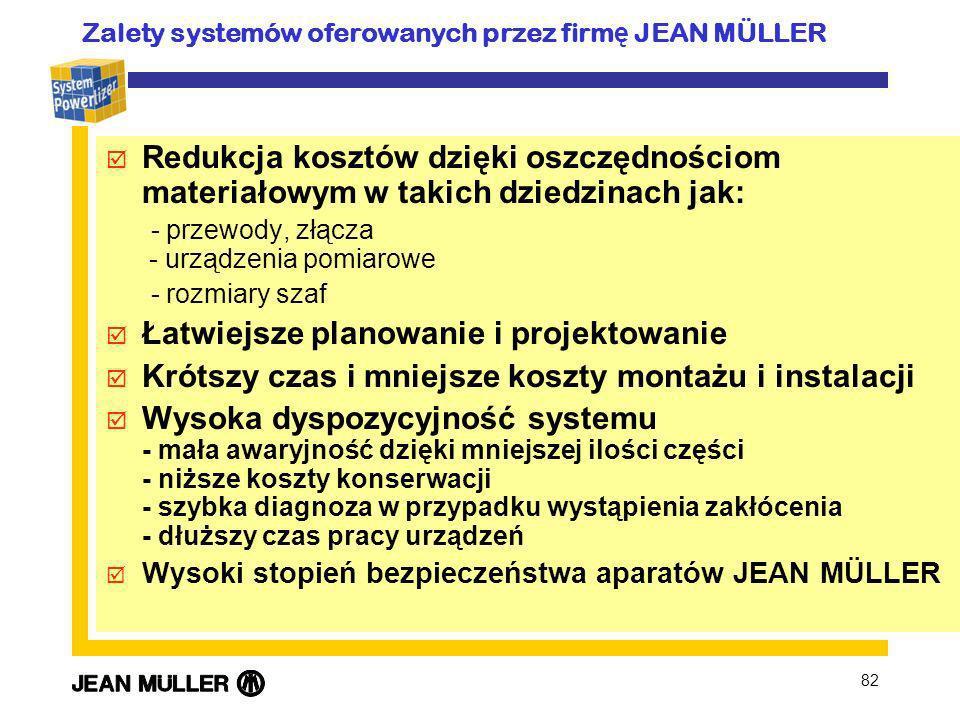 82 þ Redukcja kosztów dzięki oszczędnościom materiałowym w takich dziedzinach jak: - przewody, złącza - urządzenia pomiarowe - rozmiary szaf þ Łatwiej