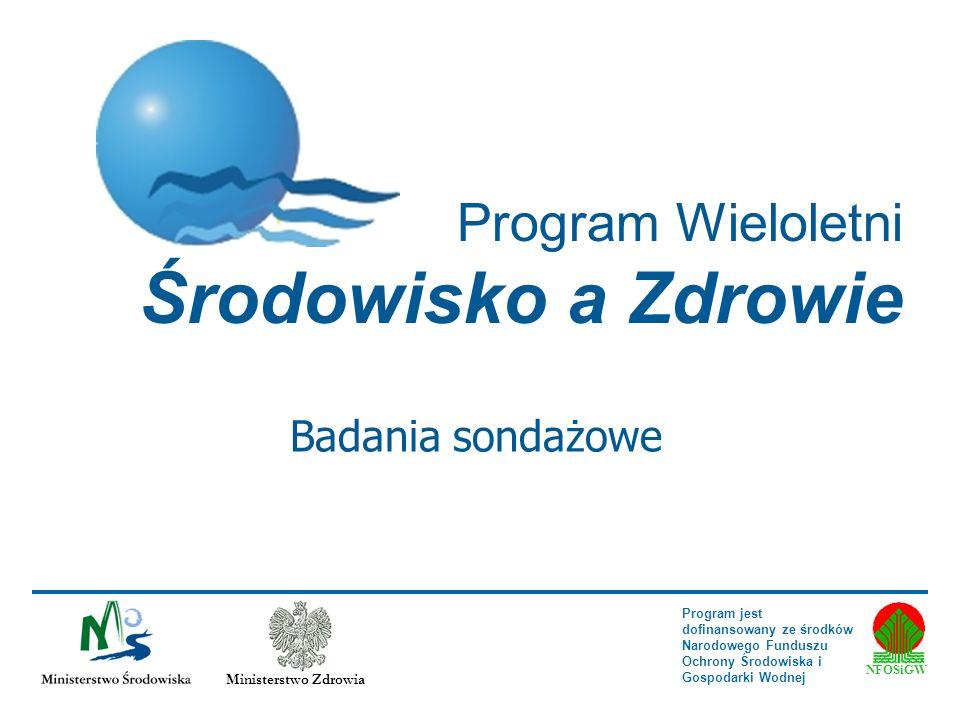 Program Wieloletni Środowisko a Zdrowie NFOŚiGW Ministerstwo Zdrowia Program jest dofinansowany ze środków Narodowego Funduszu Ochrony Środowiska i Go