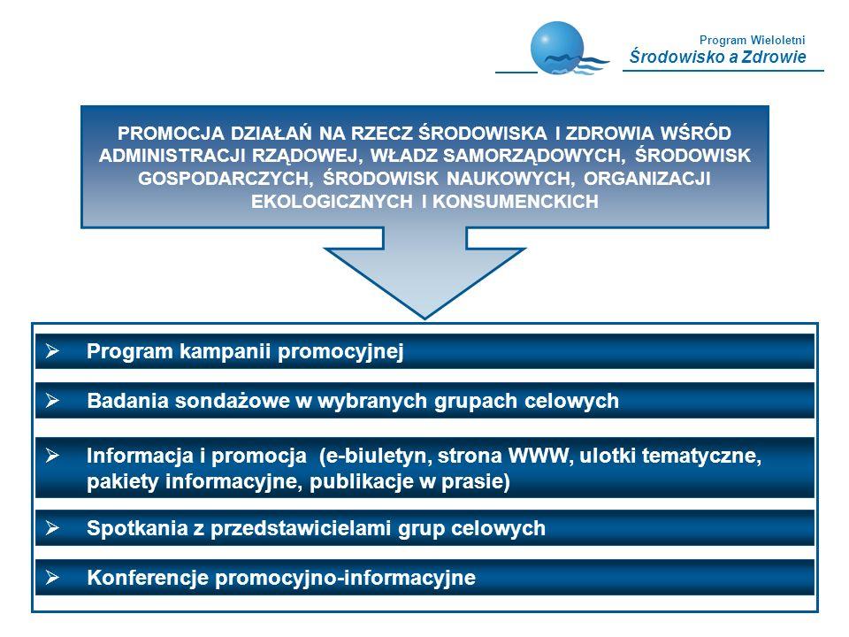 Program Wieloletni Środowisko a Zdrowie Program kampanii promocyjnej Badania sondażowe w wybranych grupach celowych PROMOCJA DZIAŁAŃ NA RZECZ ŚRODOWIS