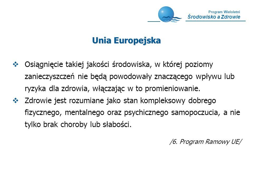 Program Wieloletni Środowisko a Zdrowie Główne Cele Europejskiej Strategii Środowiska i Zdrowia Środowiska i Zdrowia Zredukowanie negatywnego wpływu czynników środowiskowych na zdrowie w krajach UE Rozpoznanie i prewencja nowych zagrożeń zdrowia wywoływanych przez czynniki środowiskowe Wzmocnienie kompetencji i potencjału UE niezbędnego dla wdrażania skutecznej polityki w zakresie zdrowia środowiskowego