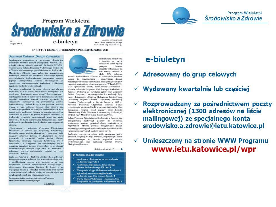 Program Wieloletni Środowisko a Zdrowie e-biuletyn Adresowany do grup celowych Wydawany kwartalnie lub częściej Rozprowadzany za pośrednictwem poczty