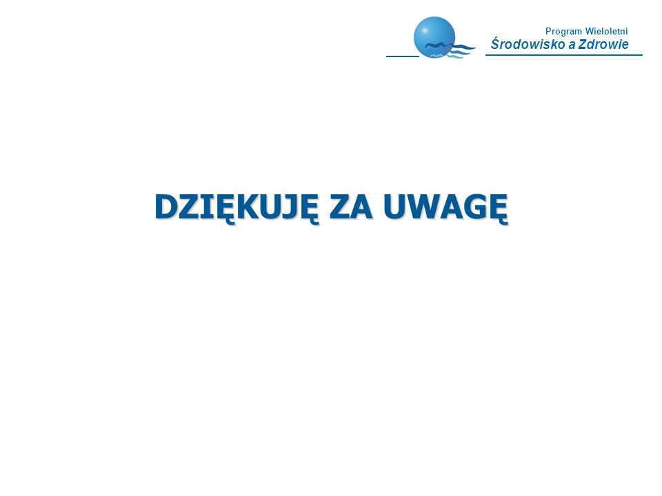 Program Wieloletni Środowisko a Zdrowie DZIĘKUJĘ ZA UWAGĘ
