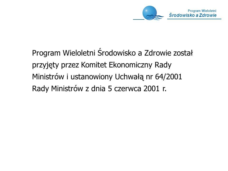 Program Wieloletni Środowisko a Zdrowie Główny cel Programu Stworzenie skutecznego systemu przeciwdziałania środowiskowym zagrożeniom zdrowia poprzez zintegrowanie działań zmierzających do ograniczenia zanieczyszczenia środowiska i eliminacji negatywnych skutków zdrowotnych u mieszkańców Polski
