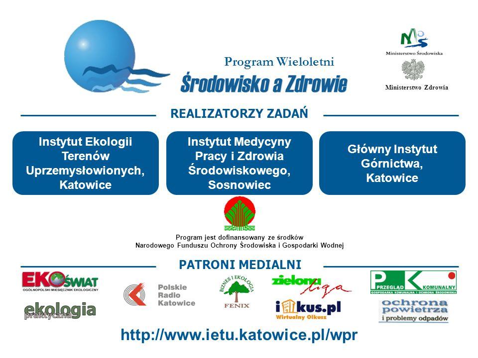 Program Wieloletni Środowisko a Zdrowie Opracowanie i wdrażanie systemu wskaźników zdrowia środowiskowego w Polsce Określenie przydatności wykorzystania danych monitoringu środowiska do oceny środowiskowego ryzyka zdrowotnego Opracowanie i pilotażowe wdrożenie wytycznych do wykonywania i weryfikowania raportów o oddziaływaniu przedsięwzięć na zdrowie w ramach ocen oddziaływania na środowisko Opracowanie i pilotażowe wdrożenie programu zapobiegania astmy oskrzelowej i innych chorób alergicznych u dzieci nadmiernie narażonych na szkodliwe czynniki środowiska Kształcenie podyplomowe w dziedzinie zdrowia środowiskowego i medycyny środowiskowej Opracowanie i wdrożenie programu działań informacyjnych, edukacyjnych i promocyjnych dotyczących zdrowia środowiskowego dzieci ZADANIA RESORTU ZDROWIA