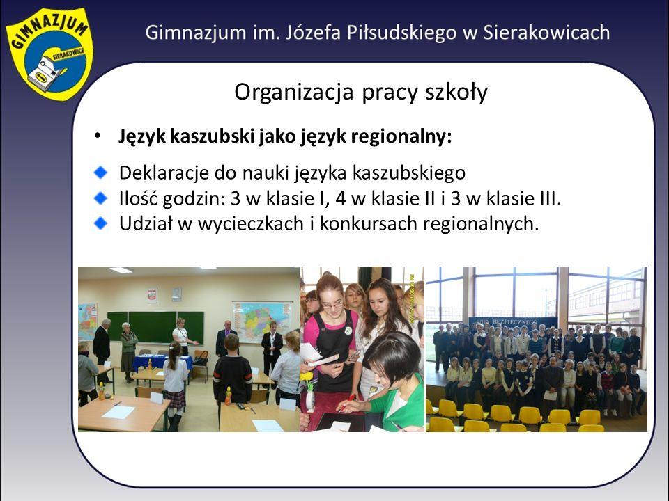 Organizacja pracy szkoły Język kaszubski jako język regionalny: Deklaracje do nauki języka kaszubskiego Ilość godzin: 3 w klasie I, 4 w klasie II i 3