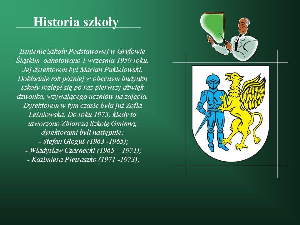Historia szkoły Istnienie Szkoły Podstawowej w Gryfowie Śląskim odnotowano 1 września 1959 roku. Jej dyrektorem był Marian Pukielowski. Dokładnie rok