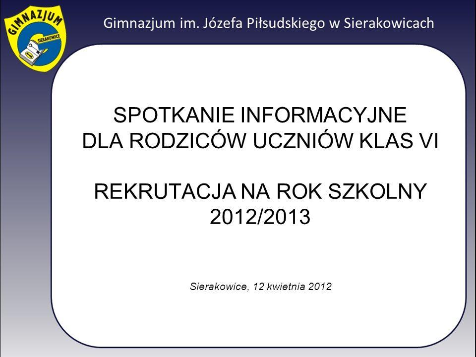 SPOTKANIE INFORMACYJNE DLA RODZICÓW UCZNIÓW KLAS VI REKRUTACJA NA ROK SZKOLNY 2012/2013 Sierakowice, 12 kwietnia 2012