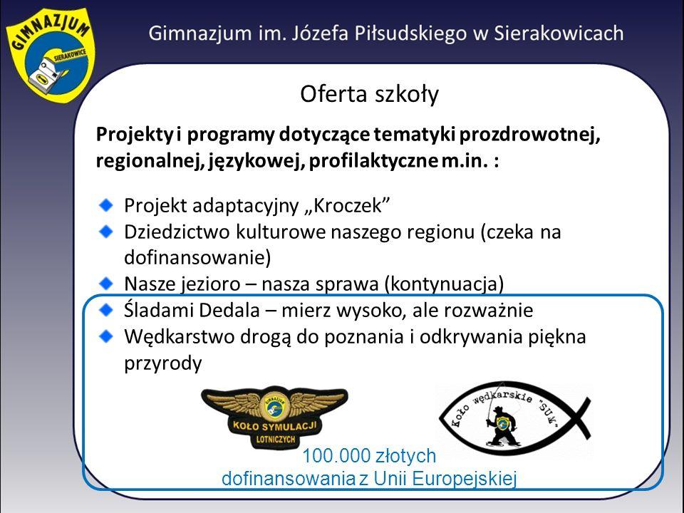 Oferta szkoły Projekty i programy dotyczące tematyki prozdrowotnej, regionalnej, językowej, profilaktyczne m.in.