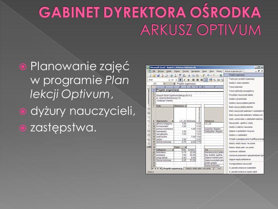 Planowanie zajęć w programie Plan lekcji Optivum, dyżury nauczycieli, zastępstwa.