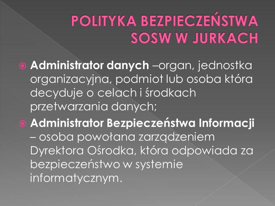 Administrator danych –organ, jednostka organizacyjna, podmiot lub osoba która decyduje o celach i środkach przetwarzania danych; Administrator Bezpieczeństwa Informacji – osoba powołana zarządzeniem Dyrektora Ośrodka, która odpowiada za bezpieczeństwo w systemie informatycznym.