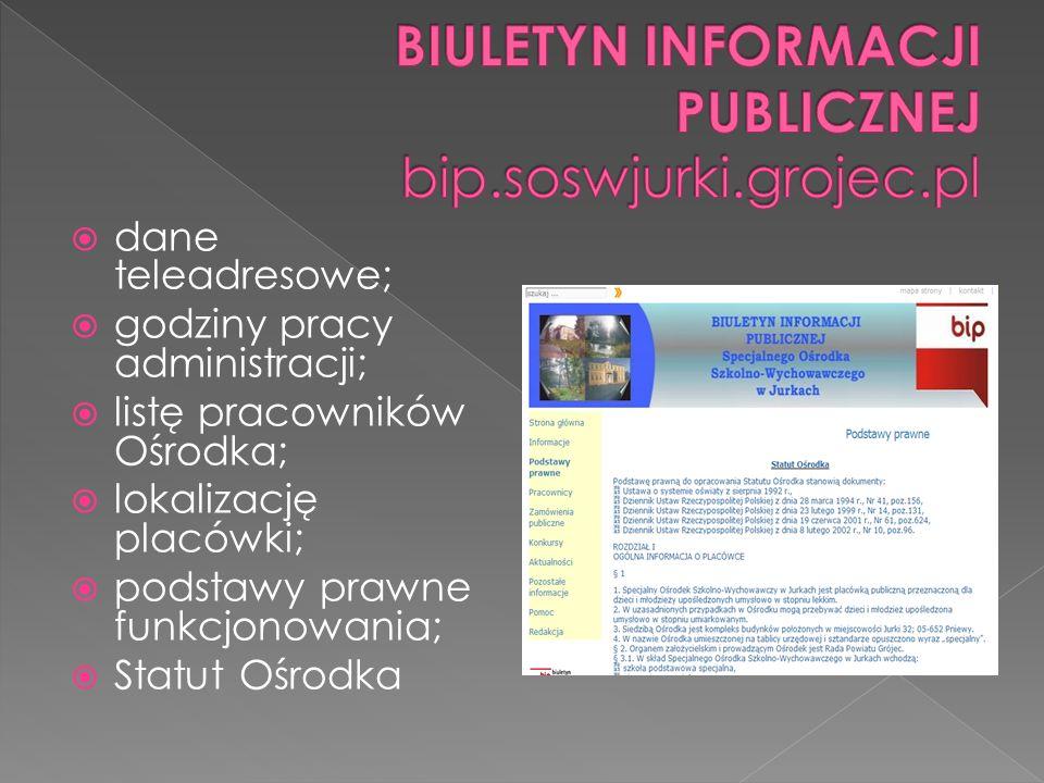 dane teleadresowe; godziny pracy administracji; listę pracowników Ośrodka; lokalizację placówki; podstawy prawne funkcjonowania; Statut Ośrodka