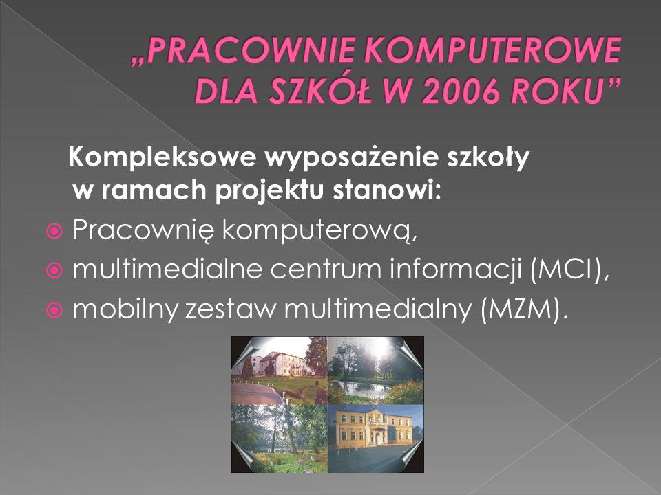 Kompleksowe wyposażenie szkoły w ramach projektu stanowi: Pracownię komputerową, multimedialne centrum informacji (MCI), mobilny zestaw multimedialny (MZM).