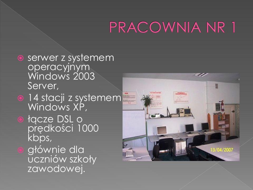 serwer z systemem operacyjnym Windows 2003 Server, 14 stacji z systemem Windows XP, łącze DSL o prędkości 1000 kbps, głównie dla uczniów szkoły zawodowej.