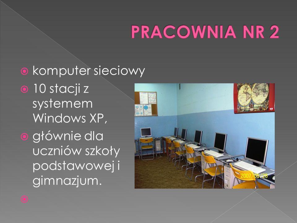 komputer sieciowy 10 stacji z systemem Windows XP, głównie dla uczniów szkoły podstawowej i gimnazjum.