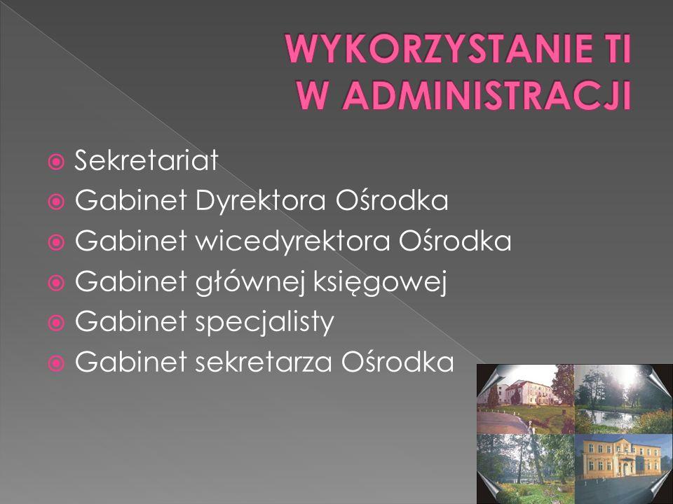 Sekretariat Gabinet Dyrektora Ośrodka Gabinet wicedyrektora Ośrodka Gabinet głównej księgowej Gabinet specjalisty Gabinet sekretarza Ośrodka