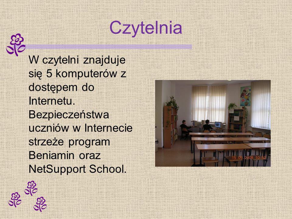 Czytelnia W czytelni znajduje się 5 komputerów z dostępem do Internetu. Bezpieczeństwa uczniów w Internecie strzeże program Beniamin oraz NetSupport S