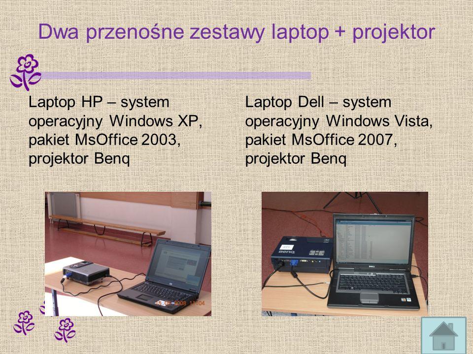 Dwa przenośne zestawy laptop + projektor Laptop HP – system operacyjny Windows XP, pakiet MsOffice 2003, projektor Benq Laptop Dell – system operacyjny Windows Vista, pakiet MsOffice 2007, projektor Benq