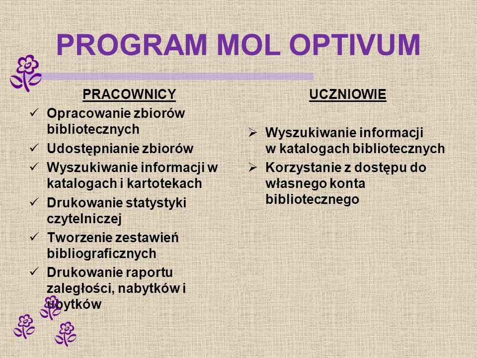PROGRAM MOL OPTIVUM PRACOWNICY Opracowanie zbiorów bibliotecznych Udostępnianie zbiorów Wyszukiwanie informacji w katalogach i kartotekach Drukowanie