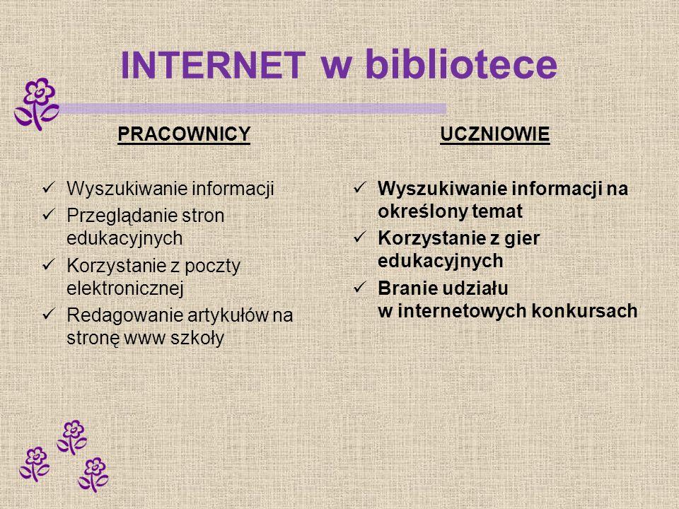 INTERNET w bibliotece PRACOWNICY Wyszukiwanie informacji Przeglądanie stron edukacyjnych Korzystanie z poczty elektronicznej Redagowanie artykułów na