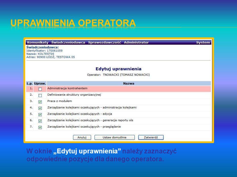 W oknie Edytuj uprawnienia należy zaznaczyć odpowiednie pozycje dla danego operatora.