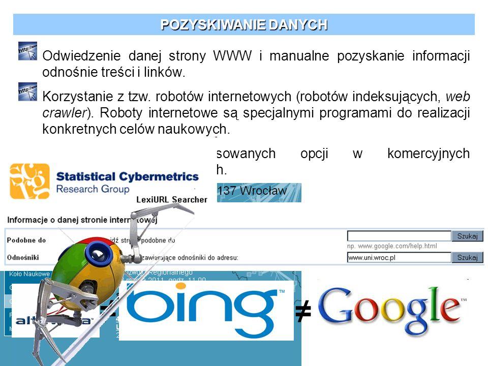 POZYSKIWANIE DANYCH Odwiedzenie danej strony WWW i manualne pozyskanie informacji odnośnie treści i linków. Korzystanie z tzw. robotów internetowych (