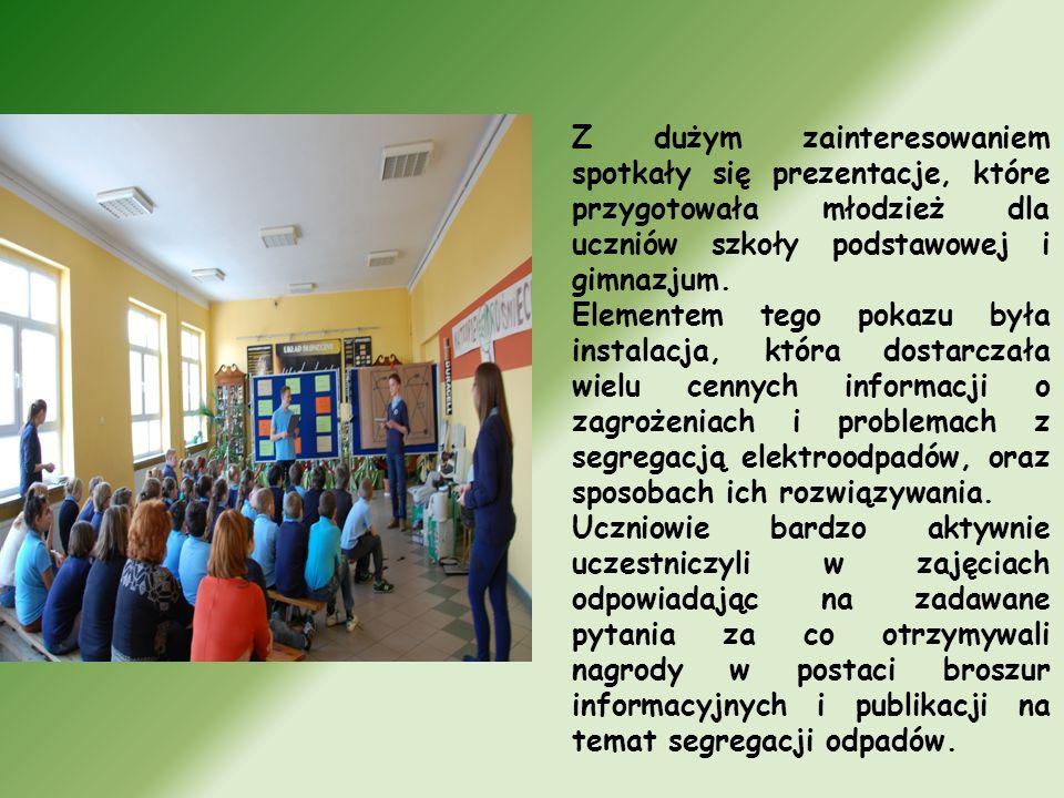 Z dużym zainteresowaniem spotkały się prezentacje, które przygotowała młodzież dla uczniów szkoły podstawowej i gimnazjum.