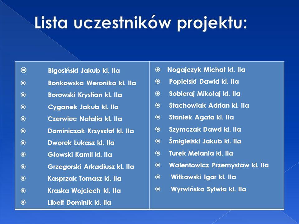 Bigosiński Jakub kl. IIa Bonkowska Weronika kl. IIa Borowski Krystian kl.