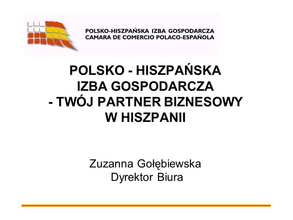POLSKO - HISZPAŃSKA IZBA GOSPODARCZA - TWÓJ PARTNER BIZNESOWY W HISZPANII Zuzanna Gołębiewska Dyrektor Biura