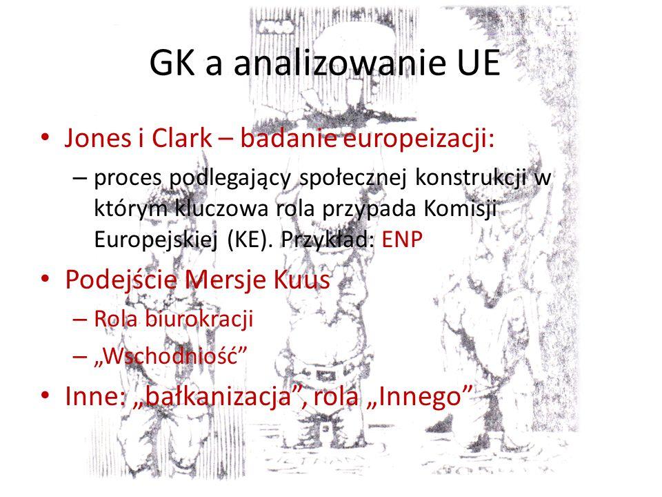 GK a analizowanie UE Jones i Clark – badanie europeizacji: – proces podlegający społecznej konstrukcji w którym kluczowa rola przypada Komisji Europejskiej (KE).