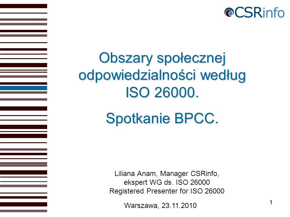 11 Warszawa, 23.11.2010 Obszary społecznej odpowiedzialności według ISO 26000.