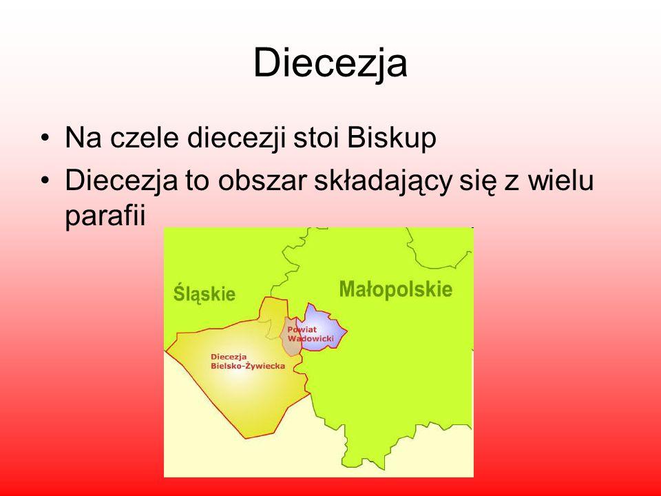 Diecezja Na czele diecezji stoi Biskup Diecezja to obszar składający się z wielu parafii