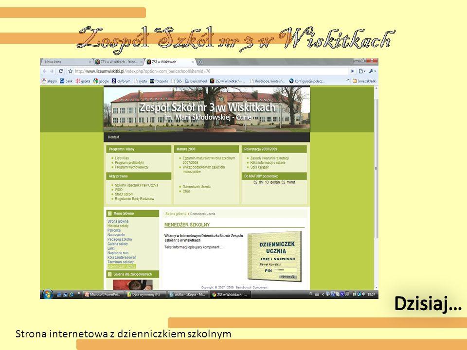 Strona internetowa z dzienniczkiem szkolnym