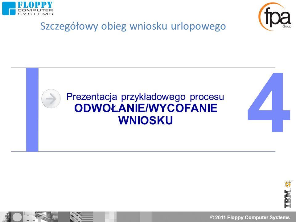 © 2011 Floppy Computer Systems Prezentacja przykładowego procesu ODWOŁANIE/WYCOFANIE WNIOSKU 4 Szczegółowy obieg wniosku urlopowego