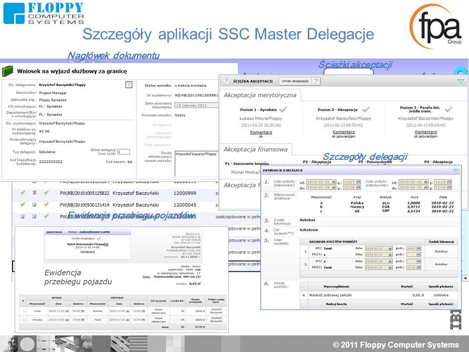 © 2011 Floppy Computer Systems Nagłówek dokumentu Ścieżki akceptacji Szczegóły delegacji Szczegóły aplikacji SSC Master Delegacje Ewidencja przebiegu