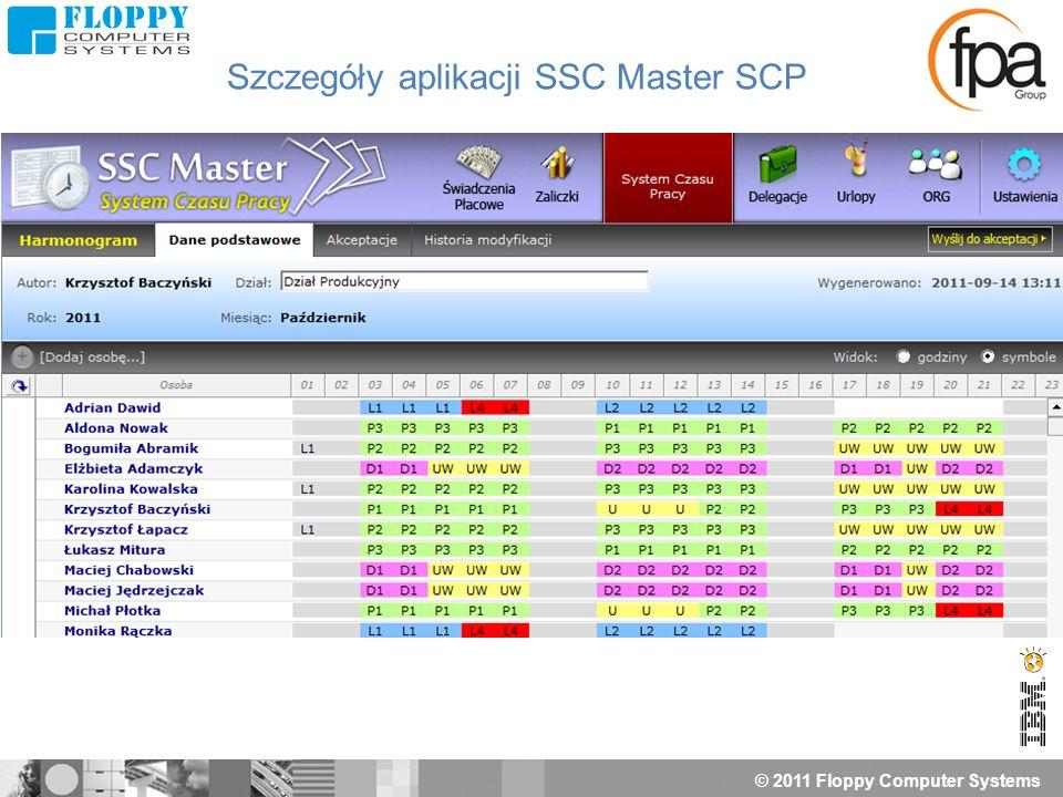 © 2011 Floppy Computer Systems Szczegóły aplikacji SSC Master SCP