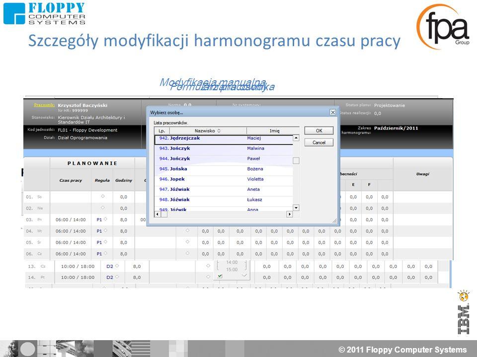 © 2011 Floppy Computer Systems Szczegóły modyfikacji harmonogramu czasu pracy Formularz pracownika Modyfikacja z reguły Modyfikacja manualna Podsumowa