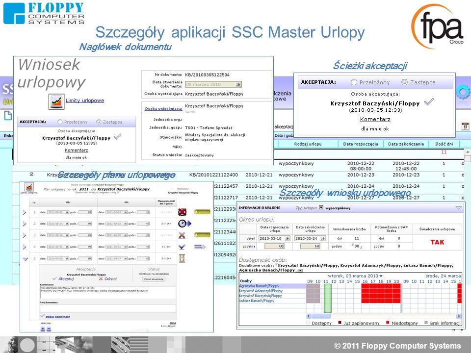 © 2011 Floppy Computer Systems Nagłówek dokumentu Ścieżki akceptacji Szczegóły wniosku urlopowego Szczegóły planu urlopowego Szczegóły aplikacji SSC M