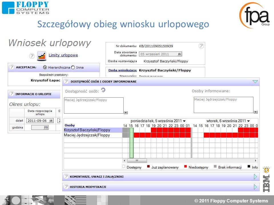 © 2011 Floppy Computer Systems Nagłówek dokumentu Ścieżki akceptacji Szczegóły delegacji Szczegóły aplikacji SSC Master Delegacje Ewidencja przebiegu pojazdów