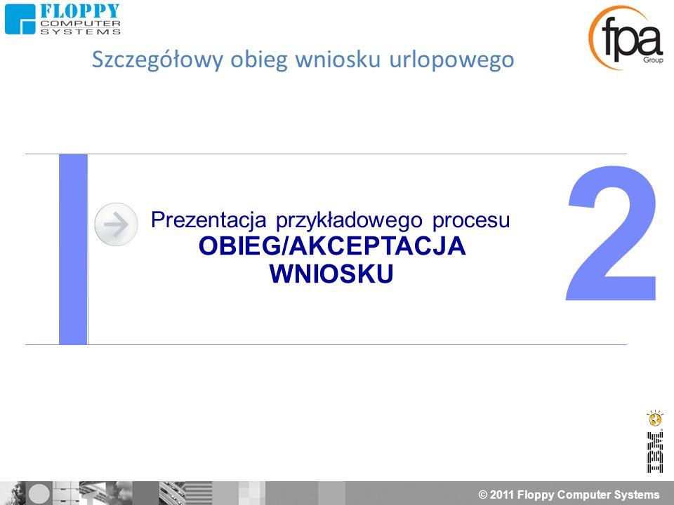 © 2011 Floppy Computer Systems Prezentacja przykładowego procesu OBIEG/AKCEPTACJA WNIOSKU 2 Szczegółowy obieg wniosku urlopowego