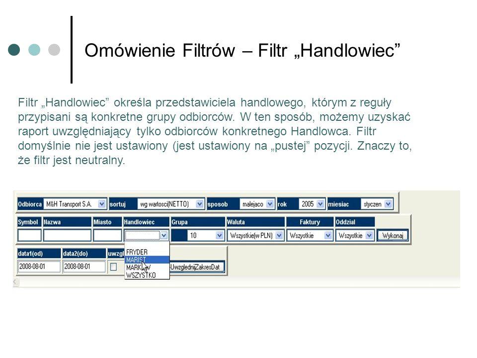 Omówienie Filtrów – Filtr Handlowiec Filtr Handlowiec określa przedstawiciela handlowego, którym z reguły przypisani są konkretne grupy odbiorców. W t