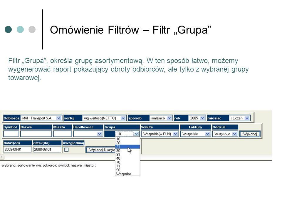 Omówienie Filtrów – Filtr Grupa Filtr Grupa, określa grupę asortymentową. W ten sposób łatwo, możemy wygenerować raport pokazujący obroty odbiorców, a