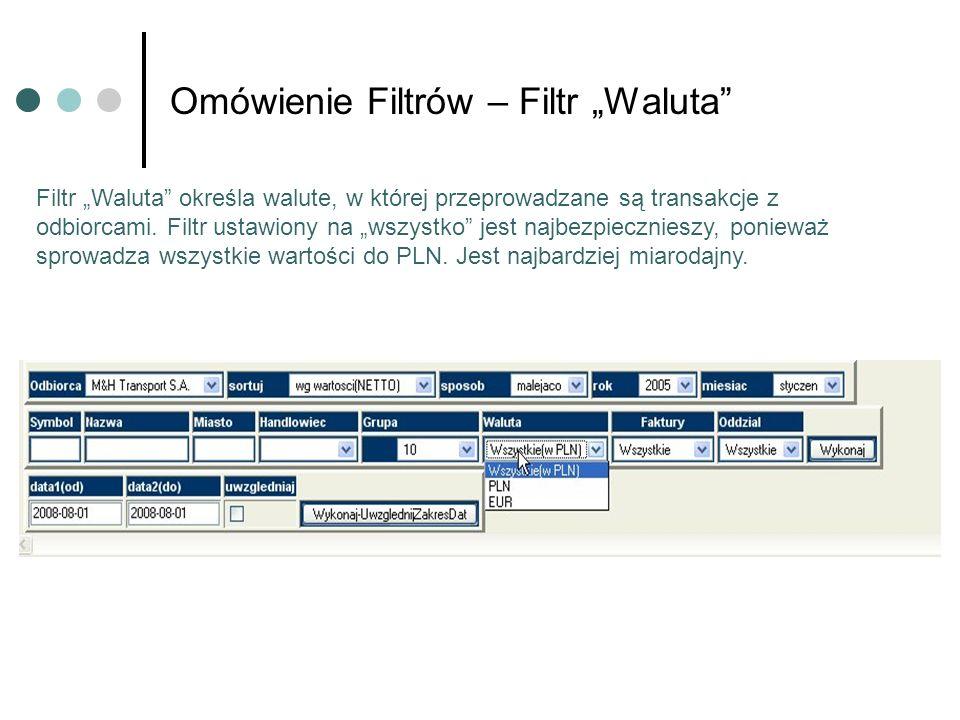 Omówienie Filtrów – Filtr Waluta Filtr Waluta określa walute, w której przeprowadzane są transakcje z odbiorcami.