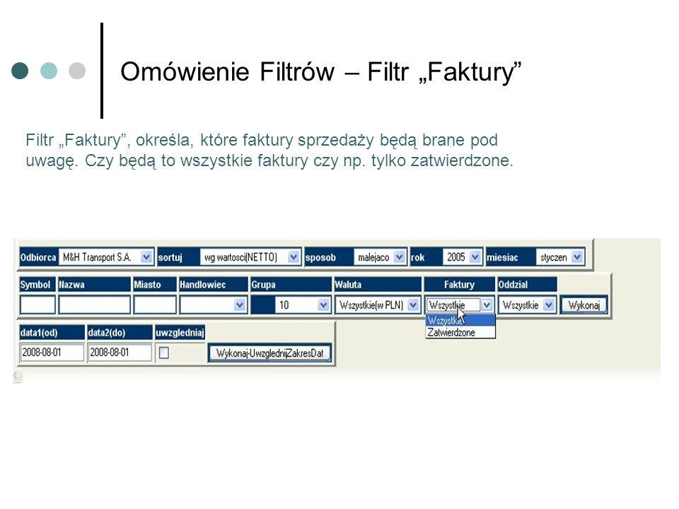 Omówienie Filtrów – Filtr Faktury Filtr Faktury, określa, które faktury sprzedaży będą brane pod uwagę. Czy będą to wszystkie faktury czy np. tylko za