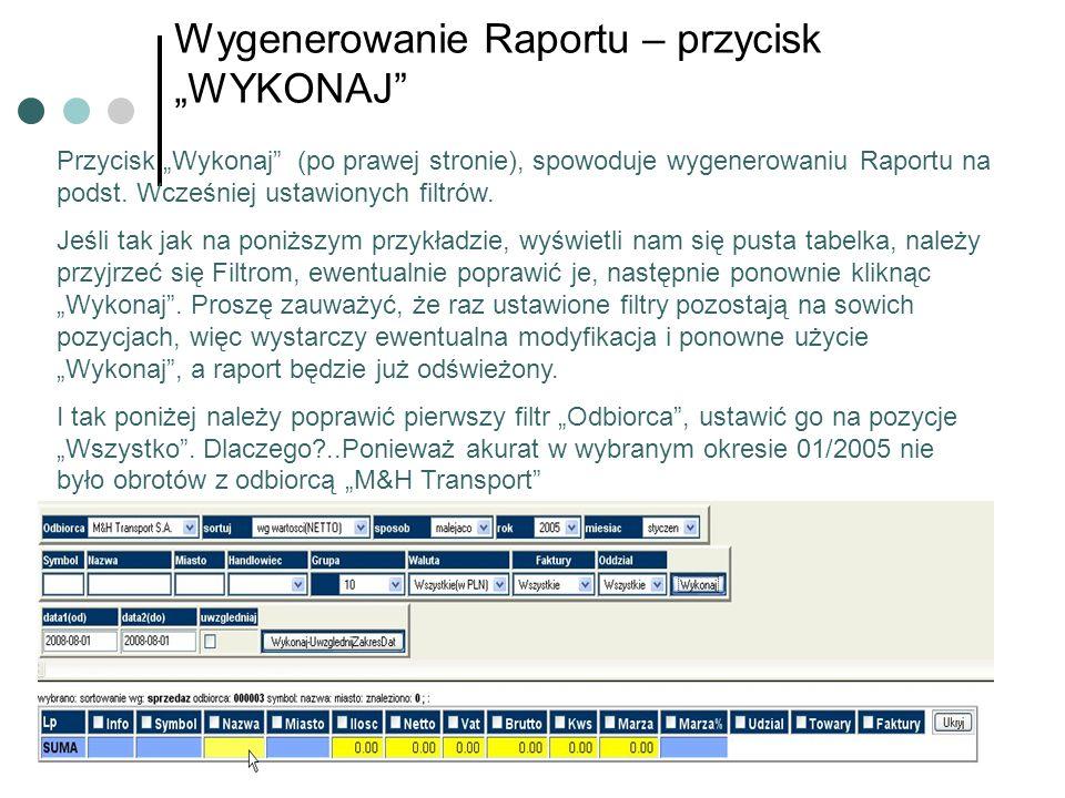Wygenerowanie Raportu – przycisk WYKONAJ Przycisk Wykonaj (po prawej stronie), spowoduje wygenerowaniu Raportu na podst. Wcześniej ustawionych filtrów